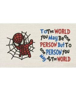 Spiderman embroidery with To The World