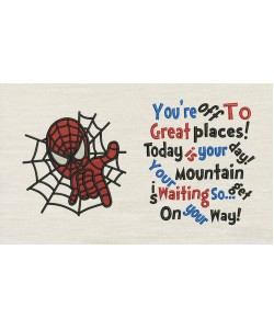Spiderman embroidery with You're Off to Great Places