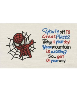 Spiderman embroidery with You're Off to Great Places designs