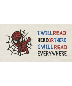 Spiderman embroidery with i will read