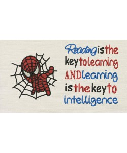 Spiderman embroidery with Reading is the key