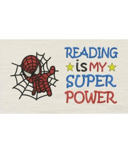 Spiderman embroidery with Reading is My Superpower