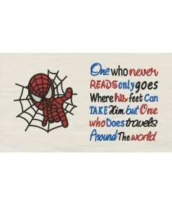Spiderman embroidery with One who never reads