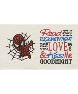 Spiderman embroidery with read me a story designs