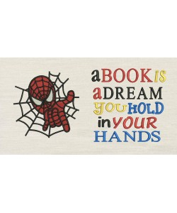 Spiderman embroidery with a book is a dream