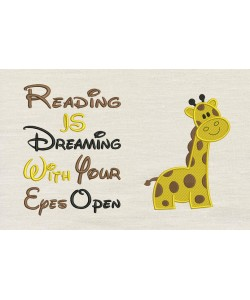 Giraffe embroidery with reading is dreaming
