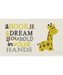 Giraffe embroidery with A book is a dream