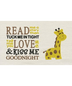 Giraffe embroidery with read me a story Designs