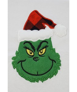 Grinch face applique embroidery