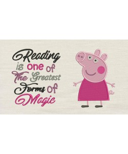 Peppa Pig embroidery with Reading is one designs