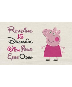 Peppa Pig embroidery with reading is dreaming