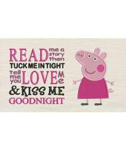 Peppa Pig embroidery with Read me a story