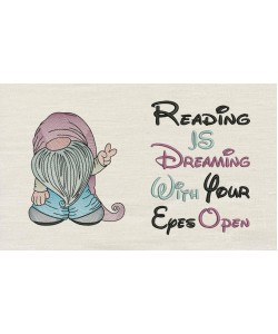 Gnome with reading is dreaming