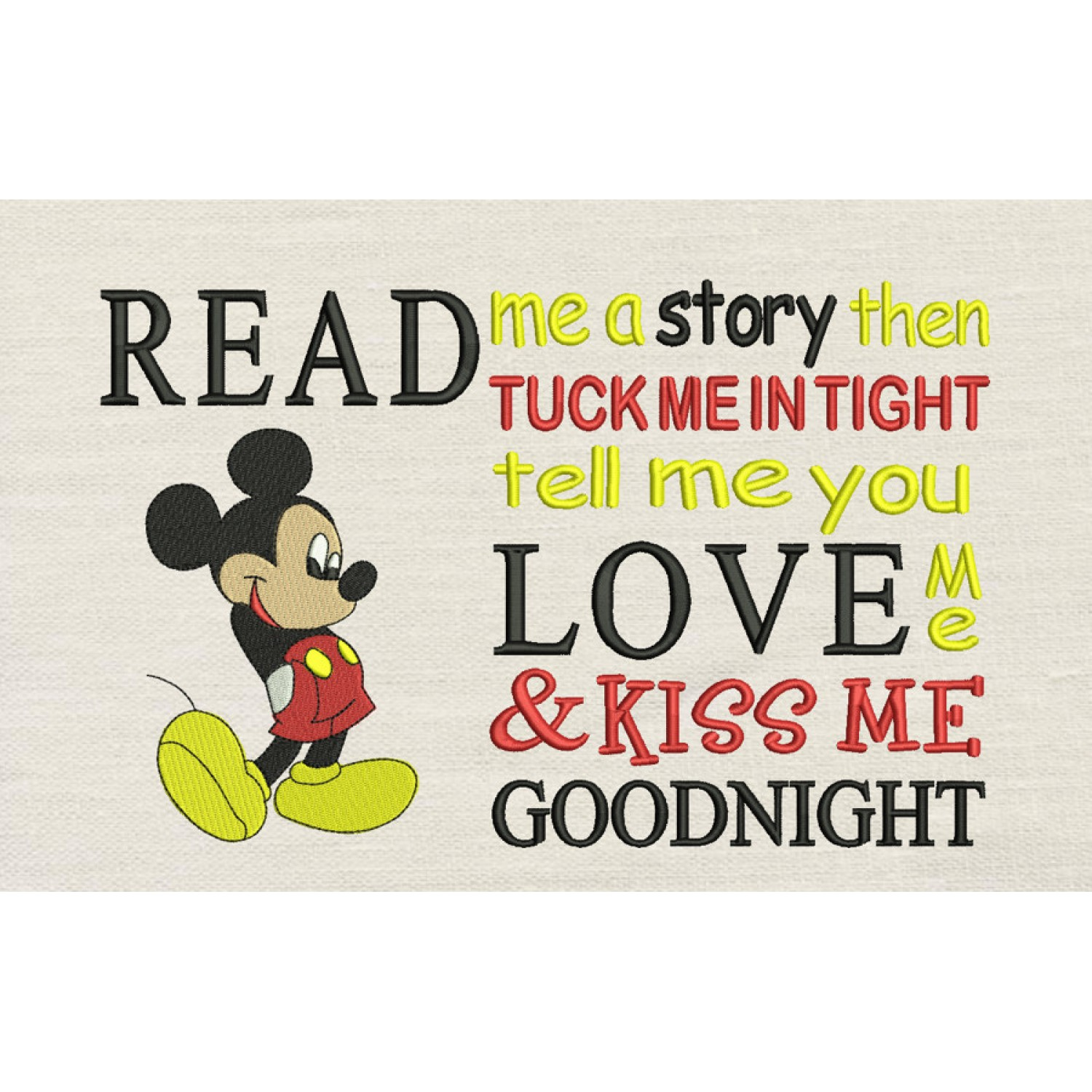 Read me a story Mickey embroidery