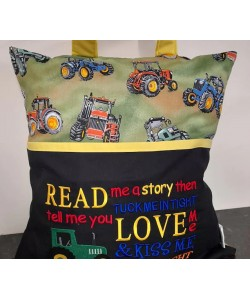 Read me a story tractor embroidery design