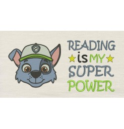 Rocky face with Reading is My Superpower