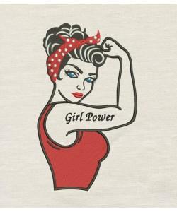 Rosie The Riveter Girl Power V2 design embroidery