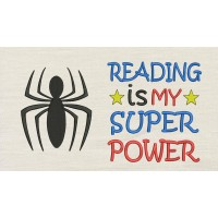 Spiderman logo with Reading is My Superpower