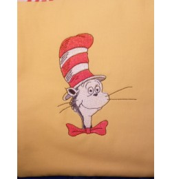Cat in the hat embroidery design