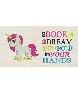 Unicorn girl with A book is a dream