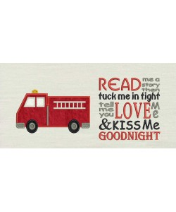 Fire truck with read me story reading pillow