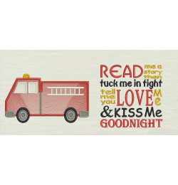 Fire truck embroidery with read me story