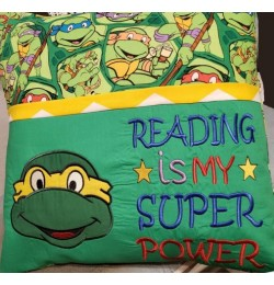 ninja turtle applique with Reading is My Super power v2 2 designs 3 sizes