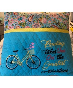 Bicycle embroidery with reading takes you 2 designs 3 sizes