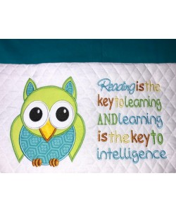 Owl applique with Reading is the key 2 designs 3 sizes