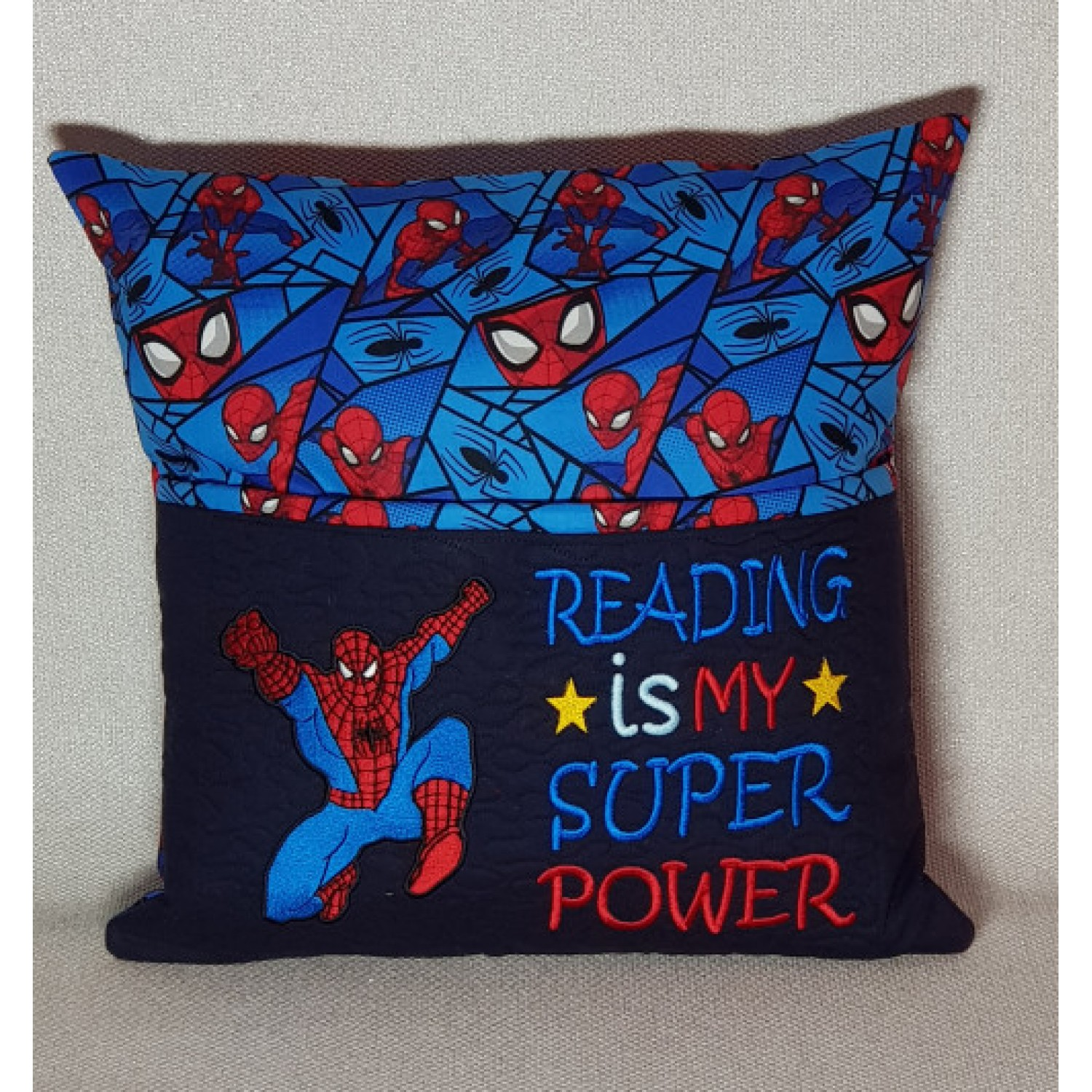 spiderman embroidery Reading is My Super power