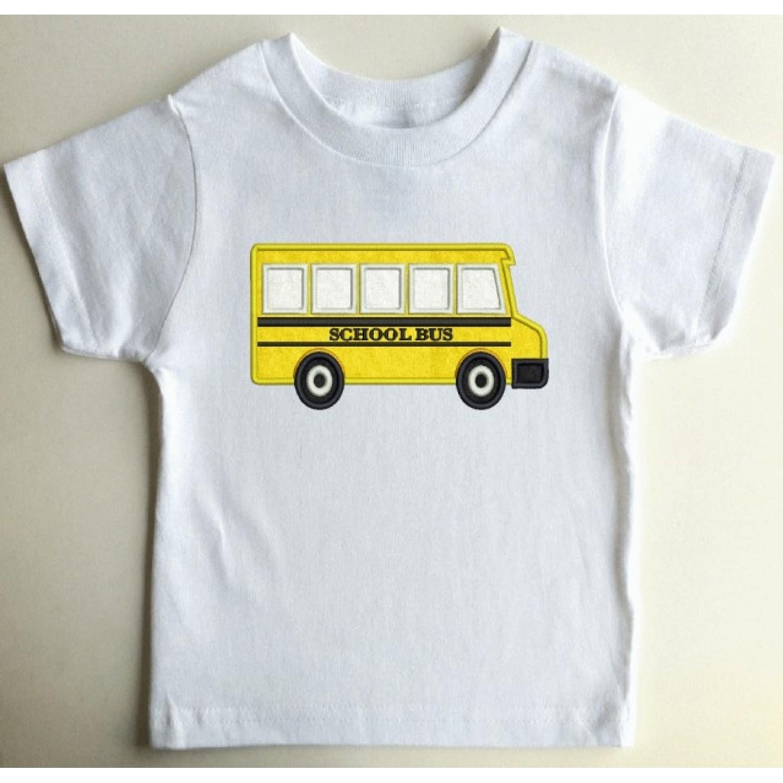 school bus applique embroidery design