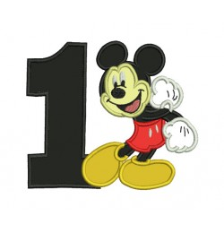 Mickey mouse birthday number 1 embroidery