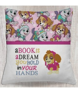 skye paw patrol embroidery with a book is a dream