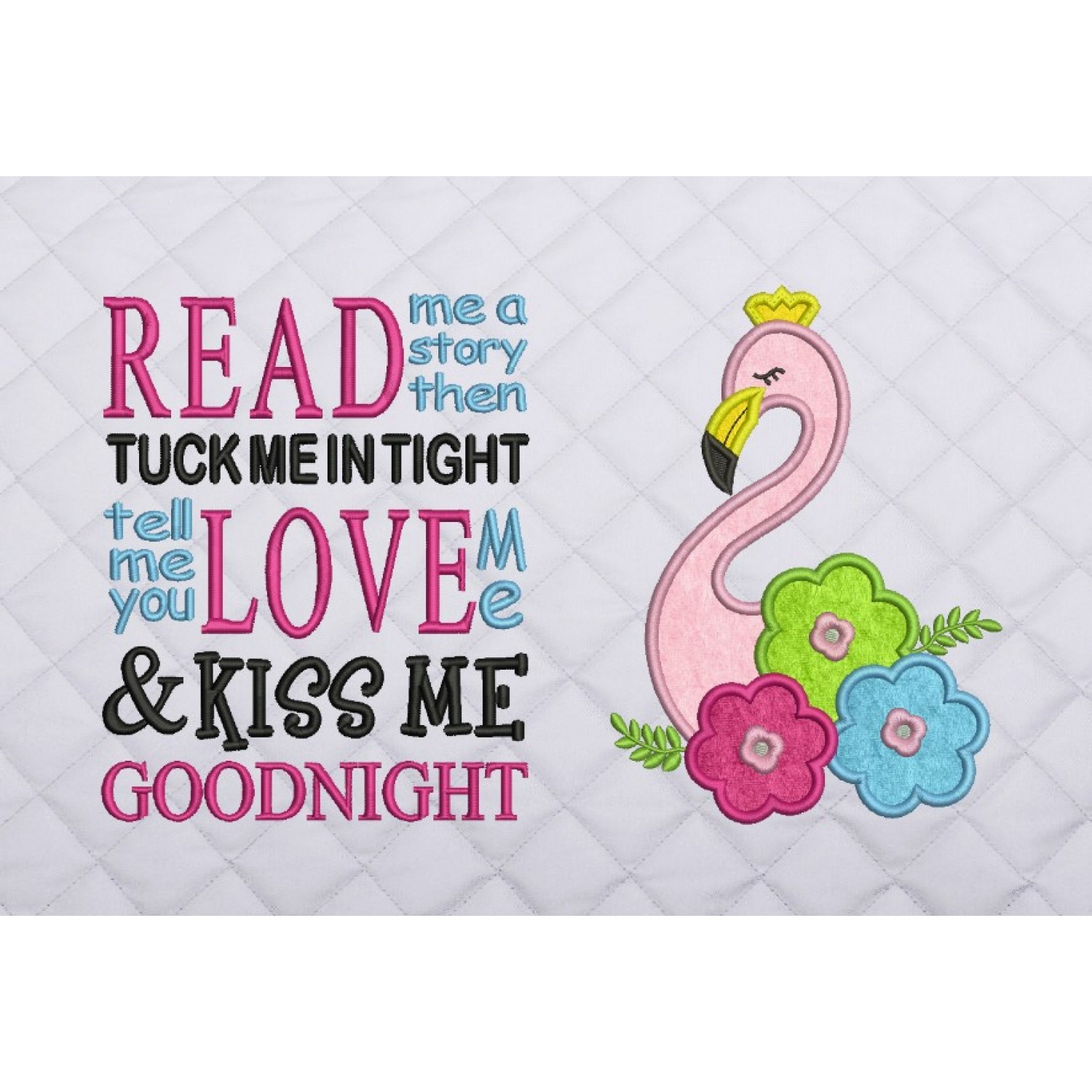 flamingo applique read me a story reading pillow