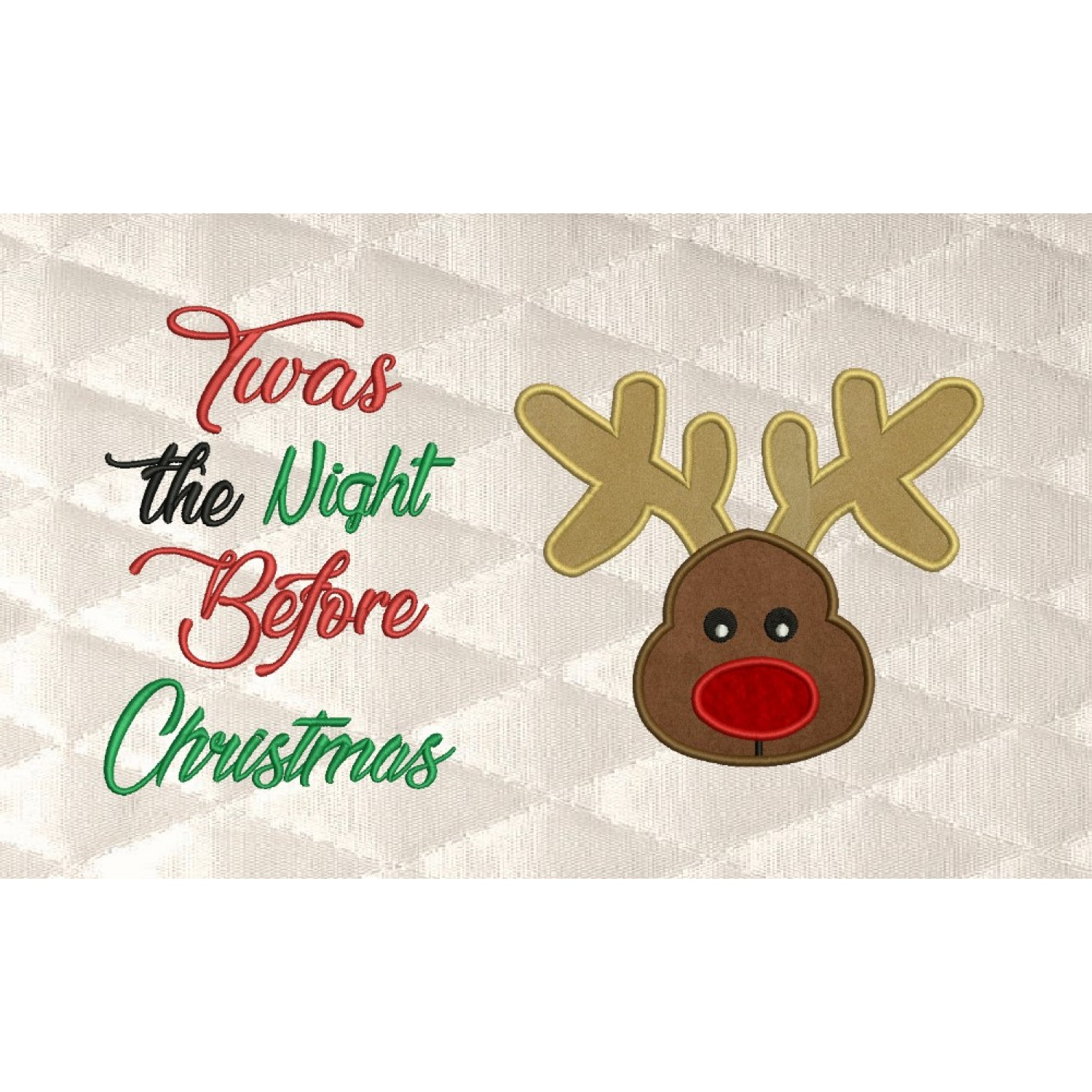 Reindeer Face applique with Twas the Night 2 designs 3 sizes