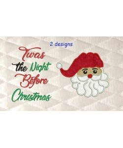 santa face applique with Twas the Night 2 designs 3 sizes