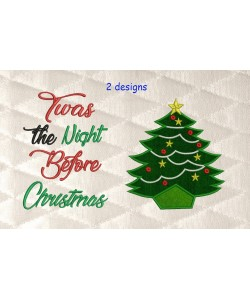 tree christmas applique with Twas the Night 2 designs 3 sizes