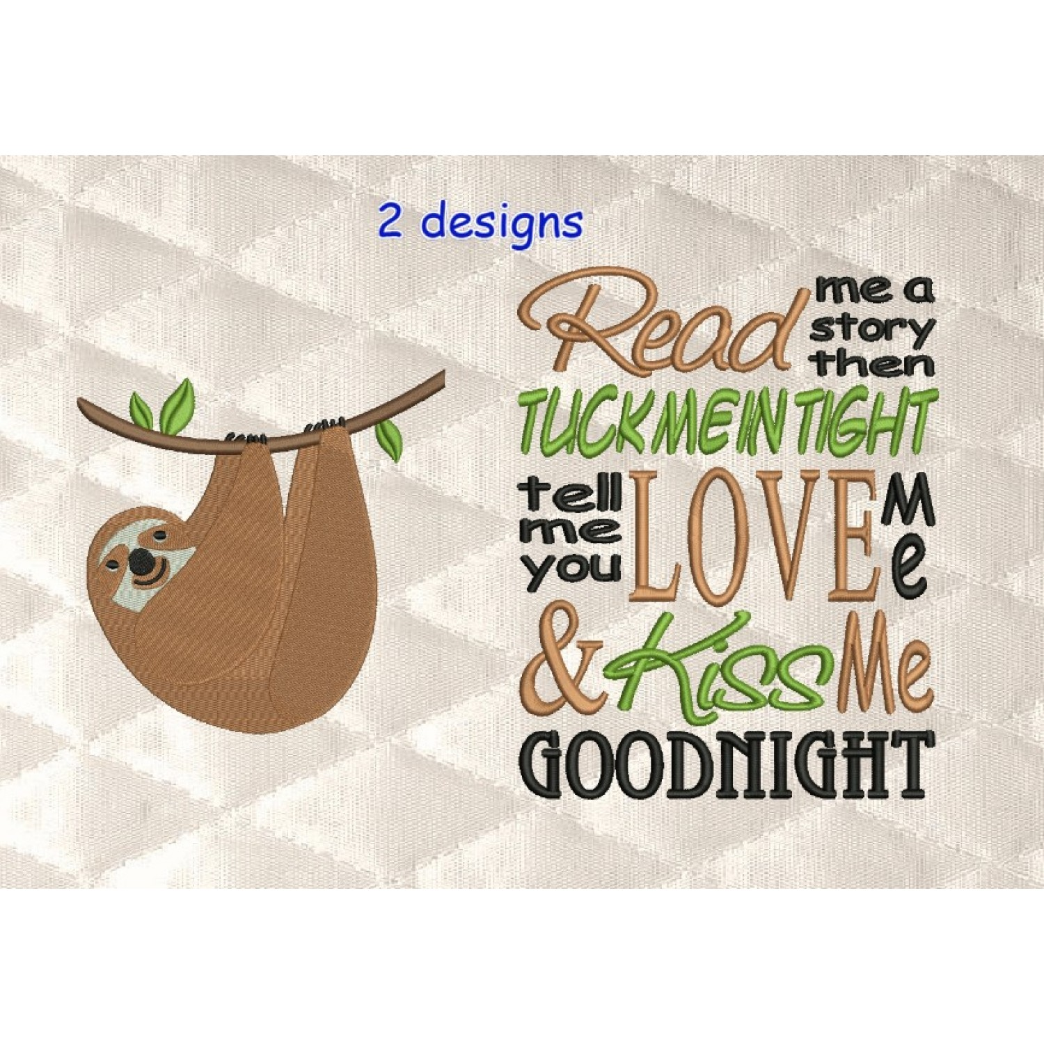 sloth embroidery with read me 2 designs 3 sizes