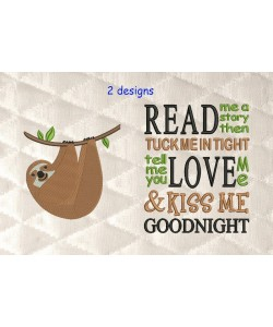 sloth embroidery with read me a story 2 designs 3 sizes