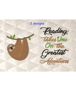 sloth embroidery with reading takes you 2 designs 3 sizes