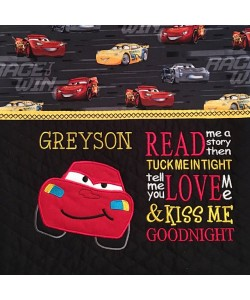 McQueen applique with read me a story 2 designs 3 sizes