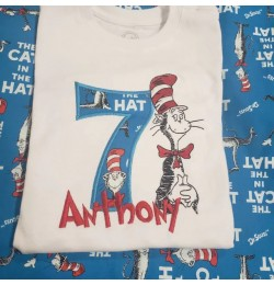 The cat ih the hat birthday number 7 applique