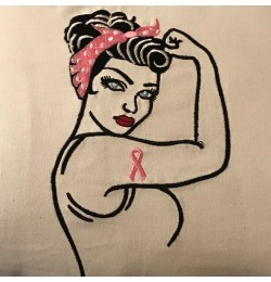Rosie The Riveter Ribbon embroidery