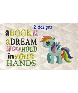 my little pony with a book is a dream 2 designs 3 sizes