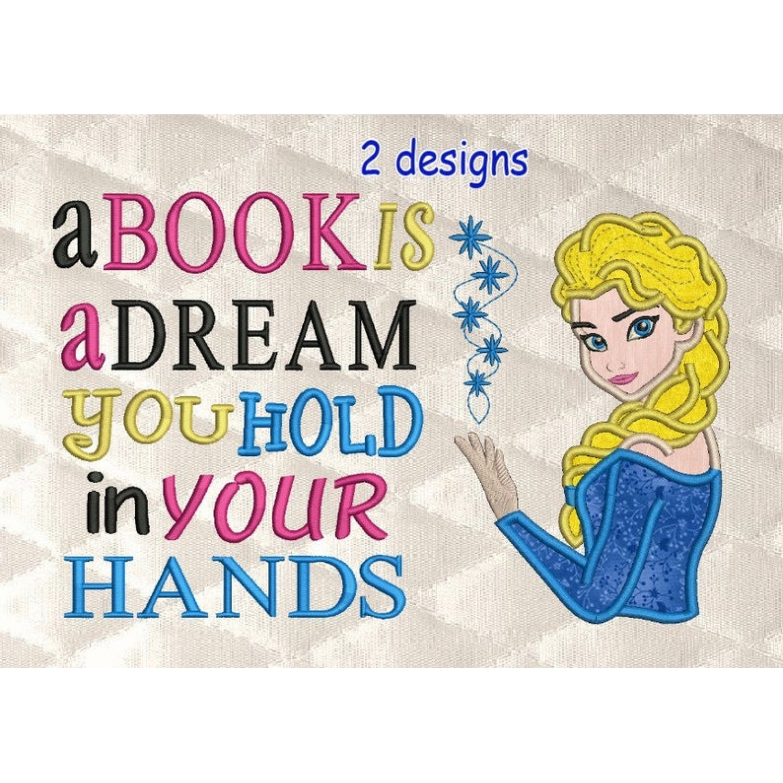 Elsa Frozen applique with a book is a dream 2 designs 3 sizes