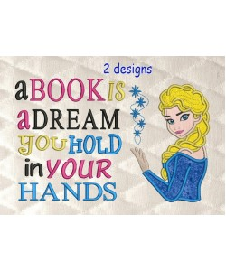 Elsa Frozen applique with a book is a dream 2 designs 3 sizes
