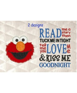 Elmo applique with read me a story 2 designs 3 sizes