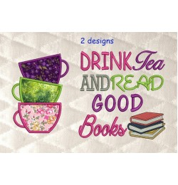Tea Cups Applique with drink tea 2 designs 3 sizes