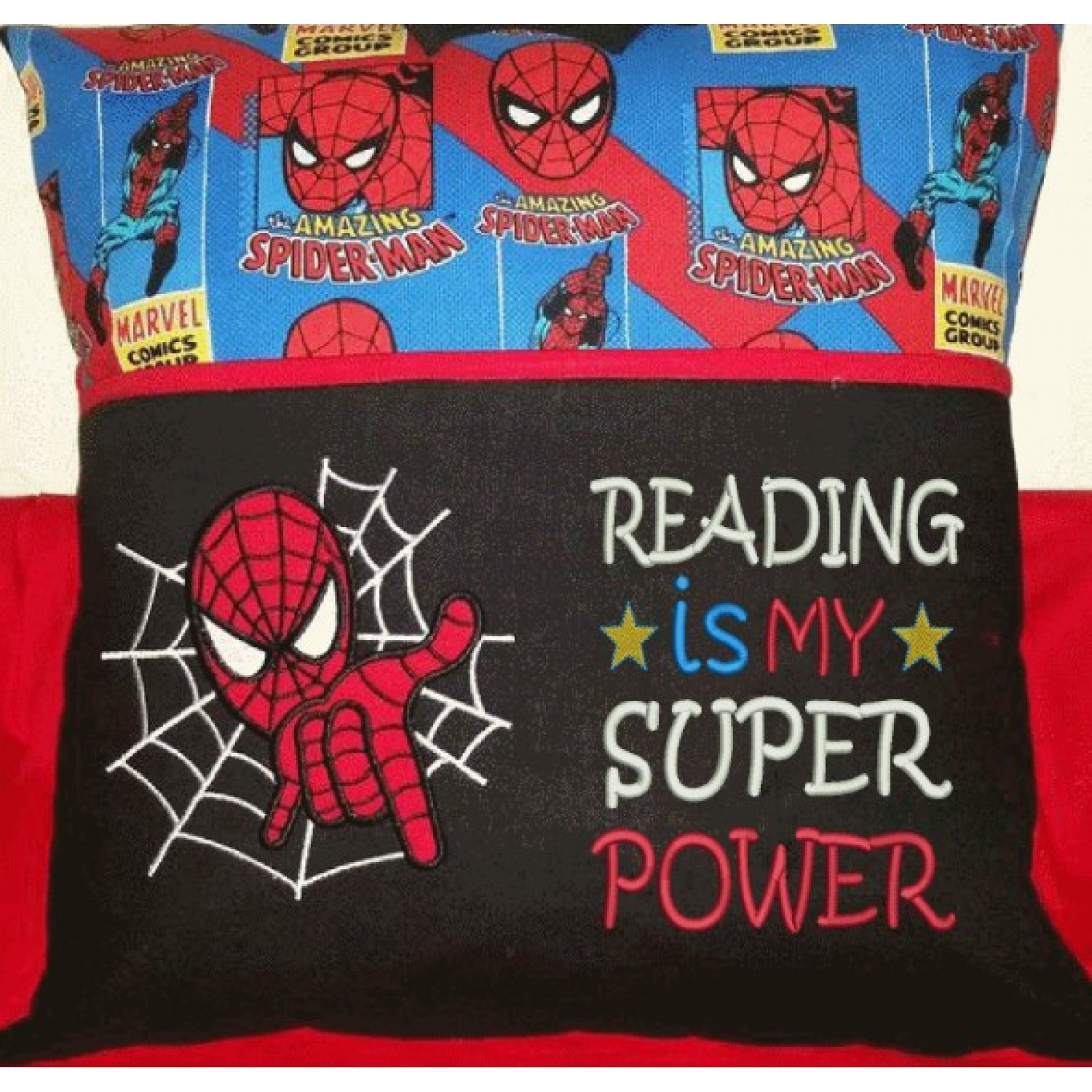 spiderman applique with Reading is My Super power v2 2 designs 3 sizes